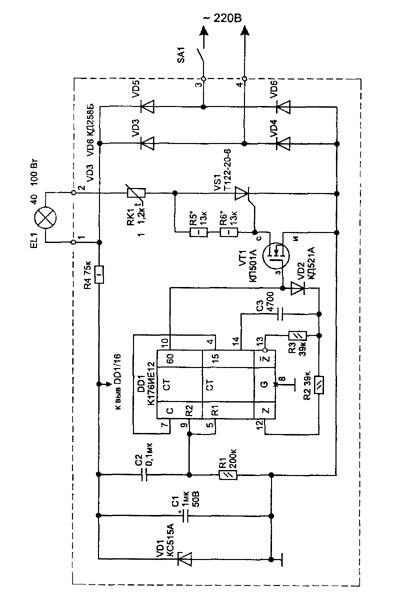 Рис. 1 Электрическая схема сетевого таймера.  Для монтажа устройства использована односторонняя печатная плата с...
